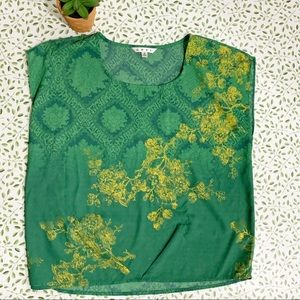 CAbi green and yellow printed top size small